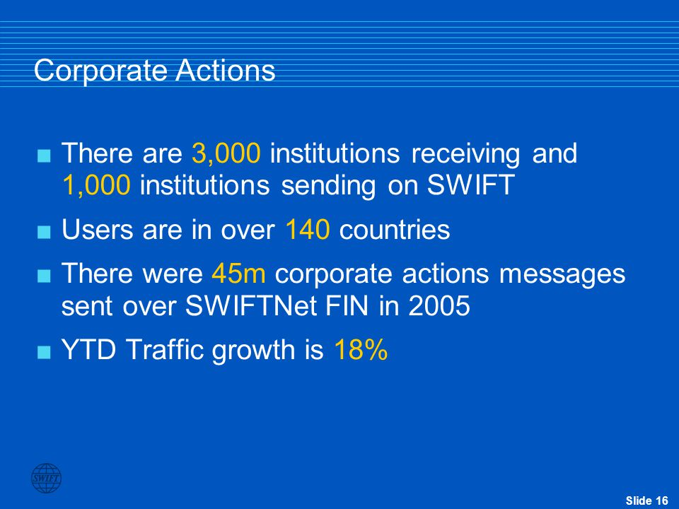 Slide 15 Corporate Actions – FIN and ISO 15022 Account Service Account Owner MT564 Notification MT565 Corp.Action Instruction MT567 Corp.Action Instru