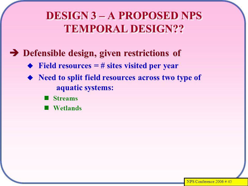 NPS Conference 2006 # 45 DESIGN 3 – A PROPOSED NPS TEMPORAL DESIGN .