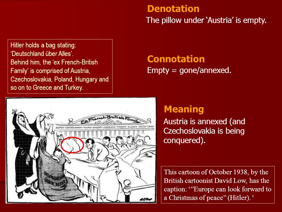 The pillow under Austria is empty. Empty = gone/annexed. Denotation Connotation Meaning Austria is annexed (and Czechoslovakia is being conquered). Hi