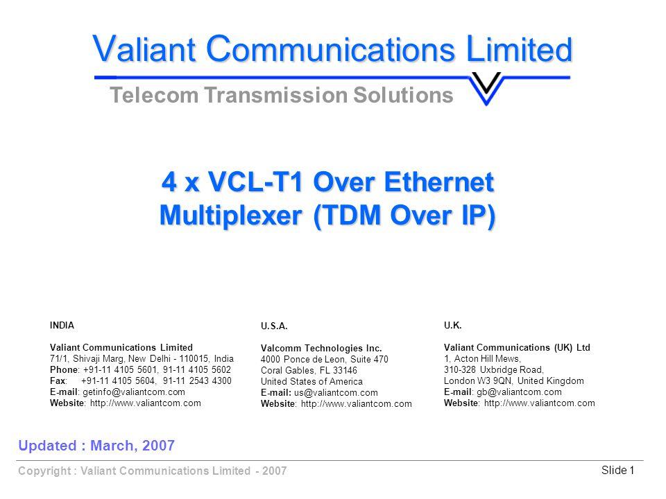 Slide 1Copyright : Valiant Communications Limited - 2007 4 x VCL-T1 Over Ethernet Multiplexer (TDM Over IP) V aliant C ommunications L imited Telecom Transmission Solutions Updated : March, 2007 U.K.