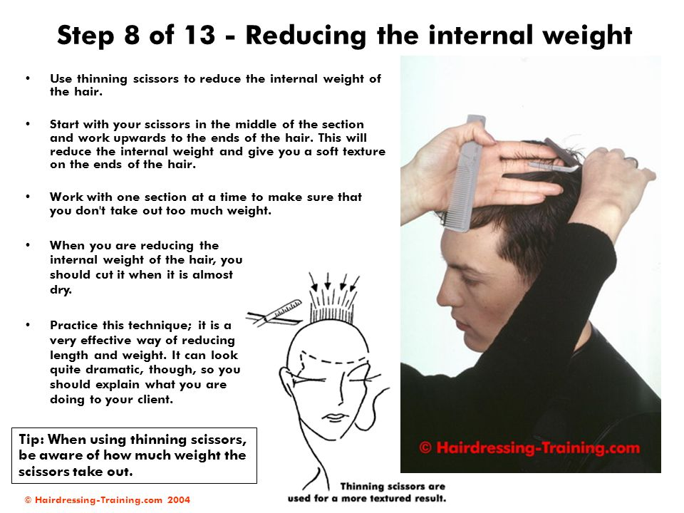 © Hairdressing-Training.com 2004 Step 8 of 13 - Reducing the internal weight Use thinning scissors to reduce the internal weight of the hair. Start wi