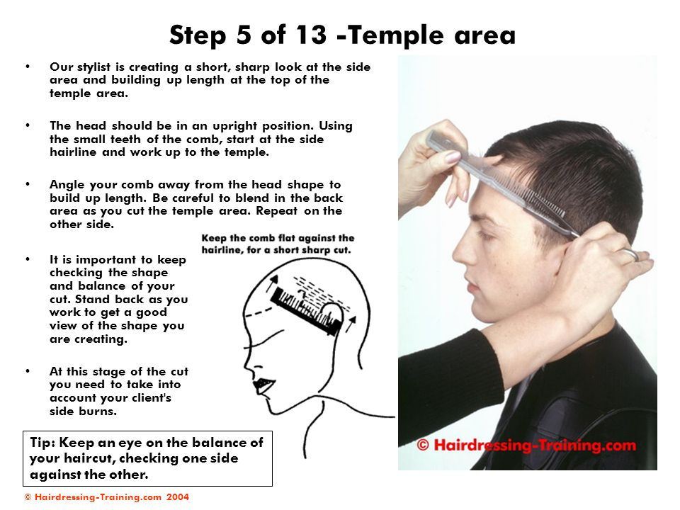 © Hairdressing-Training.com 2004 Step 5 of 13 -Temple area Our stylist is creating a short, sharp look at the side area and building up length at the