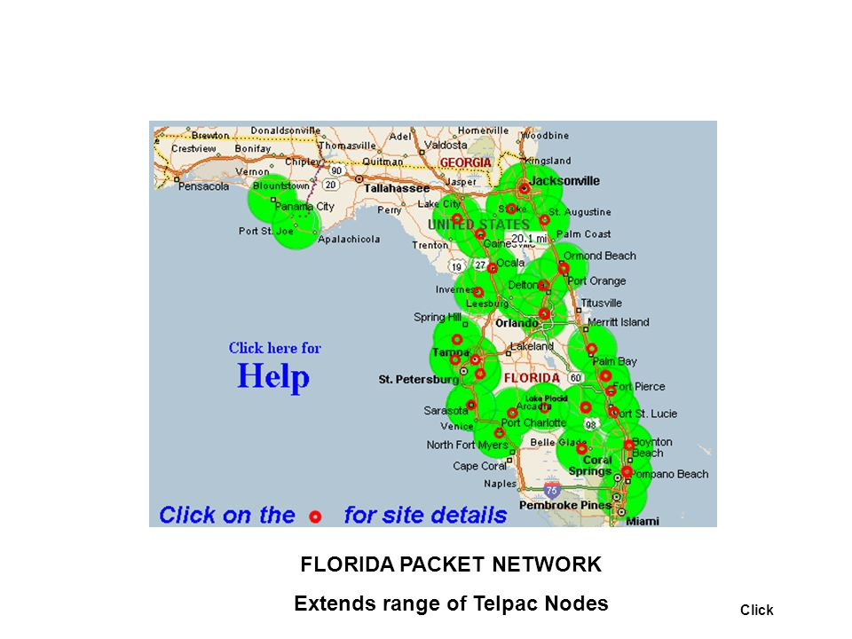 FLORIDA PACKET NETWORK Extends range of Telpac Nodes Click