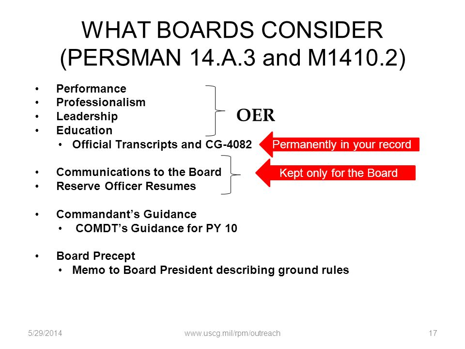 WHAT BOARDS CONSIDER (PERSMAN 14.A.3 and M1410.2) Performance Professionalism Leadership Education Official Transcripts and CG-4082 Communications to
