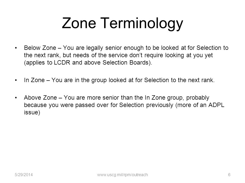 Zone Terminology Below Zone – You are legally senior enough to be looked at for Selection to the next rank, but needs of the service dont require look