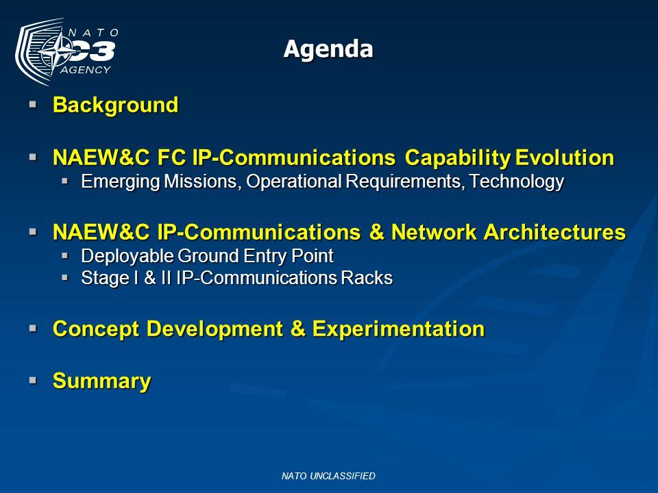 Background Background NAEW&C FC IP-Communications Capability Evolution NAEW&C FC IP-Communications Capability Evolution Emerging Missions, Operational