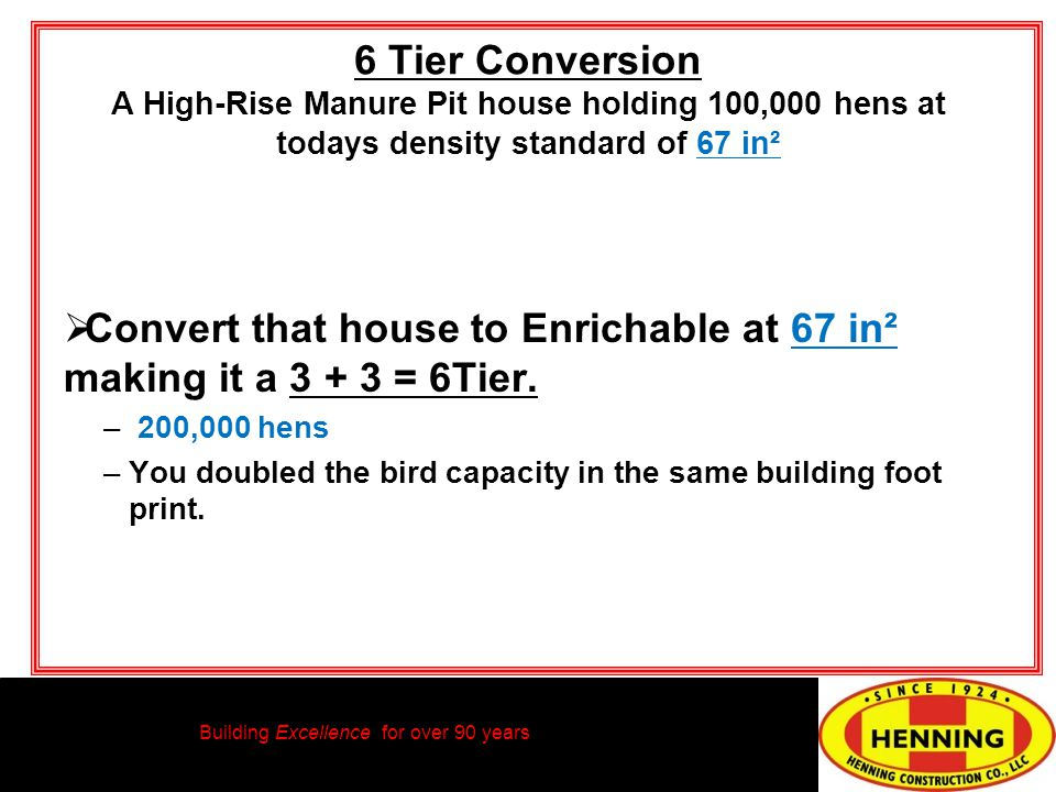 Building Excellence for over 90 years 6 Tier Conversion A High-Rise Manure Pit house holding 100,000 hens at todays density standard of 67 in² Convert that house to Enrichable at 67 in² making it a 3 + 3 = 6Tier.