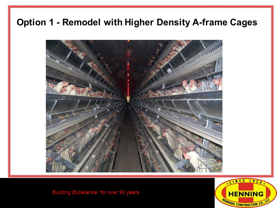 Building Excellence for over 90 years Option 1 - Remodel with Higher Density A-frame Cages