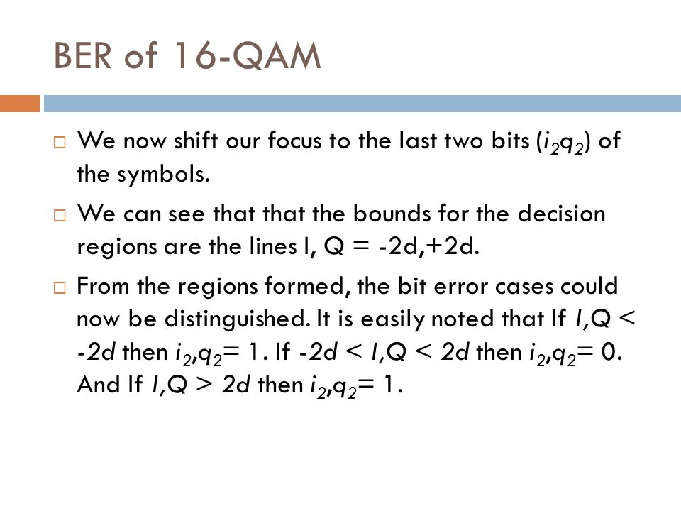 We now shift our focus to the last two bits (i 2 q 2 ) of the symbols. We can see that that the bounds for the decision regions are the lines I, Q = -