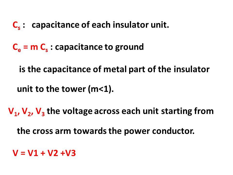 C s : capacitance of each insulator unit. C e = m C s : capacitance to ground is the capacitance of metal part of the insulator unit to the tower (m<1