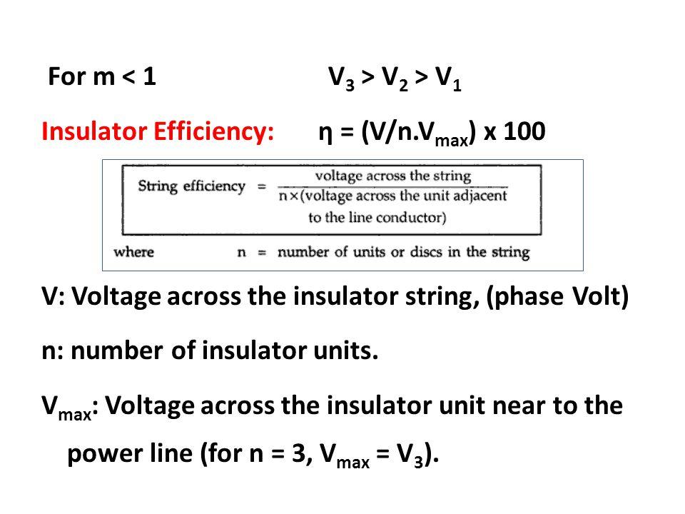 For m V 2 > V 1 Insulator Efficiency: η = (V/n.V max ) x 100 V: Voltage across the insulator string, (phase Volt) n: number of insulator units. V max
