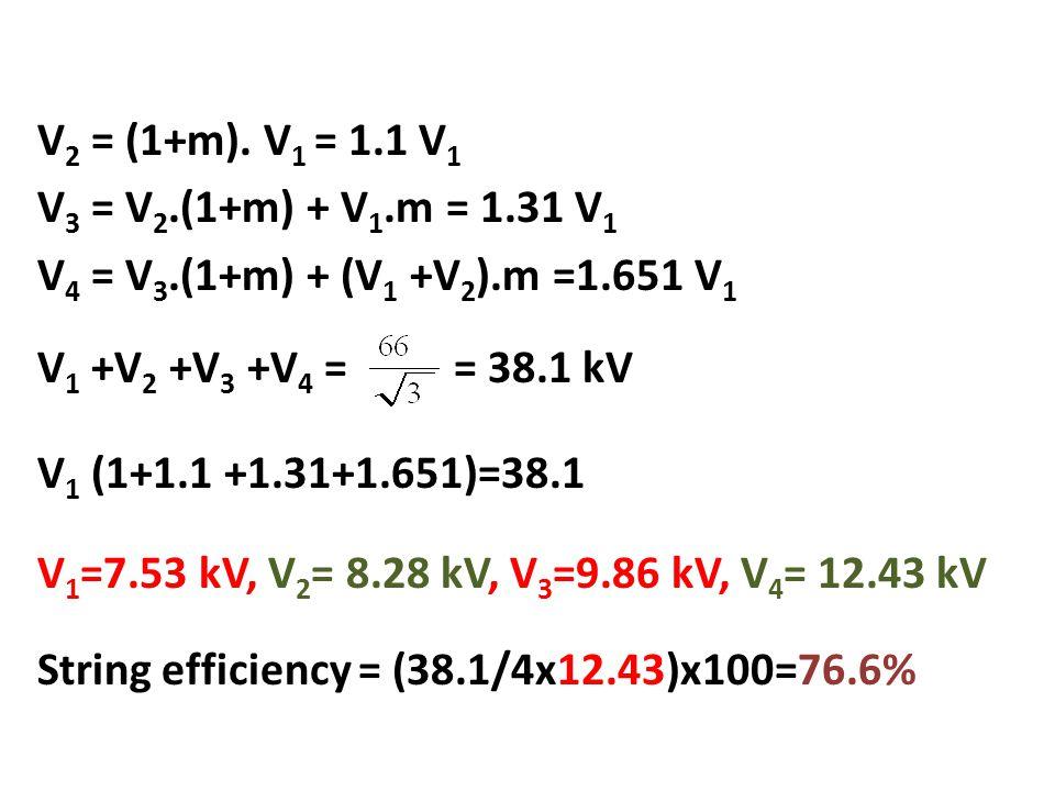 V 2 = (1+m). V 1 = 1.1 V 1 V 3 = V 2.(1+m) + V 1.m = 1.31 V 1 V 4 = V 3.(1+m) + (V 1 +V 2 ).m =1.651 V 1 V 1 +V 2 +V 3 +V 4 = = 38.1 kV V 1 (1+1.1 +1.
