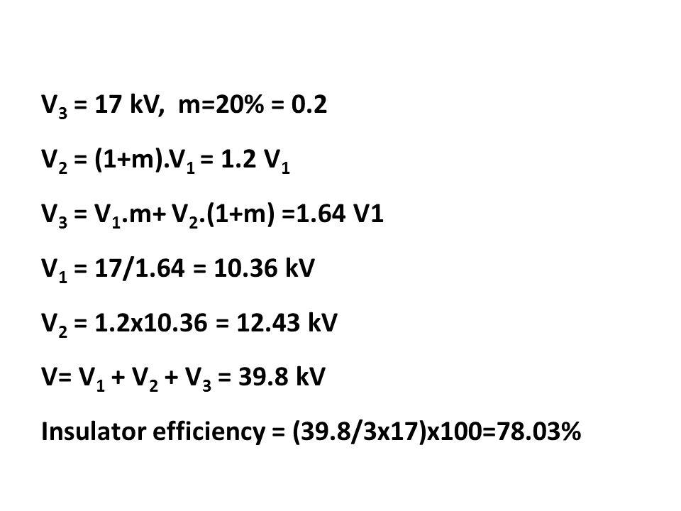 V 3 = 17 kV, m=20% = 0.2 V 2 = (1+m).V 1 = 1.2 V 1 V 3 = V 1.m+ V 2.(1+m) =1.64 V1 V 1 = 17/1.64 = 10.36 kV V 2 = 1.2x10.36 = 12.43 kV V= V 1 + V 2 + V 3 = 39.8 kV Insulator efficiency = (39.8/3x17)x100=78.03%