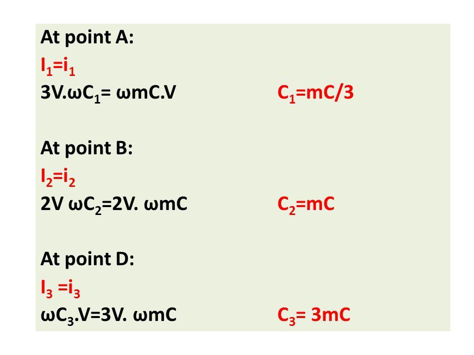 At point A: I 1 =i 1 3V.ωC 1 = ωmC.VC 1 =mC/3 At point B: I 2 =i 2 2V ωC 2 =2V. ωmCC 2 =mC At point D: I 3 =i 3 ωC 3.V=3V. ωmCC 3 = 3mC