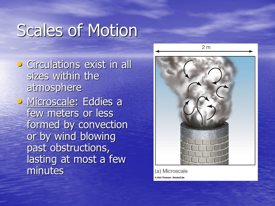 Scales of Motion Circulations exist in all sizes within the atmosphere Circulations exist in all sizes within the atmosphere Microscale: Eddies a few