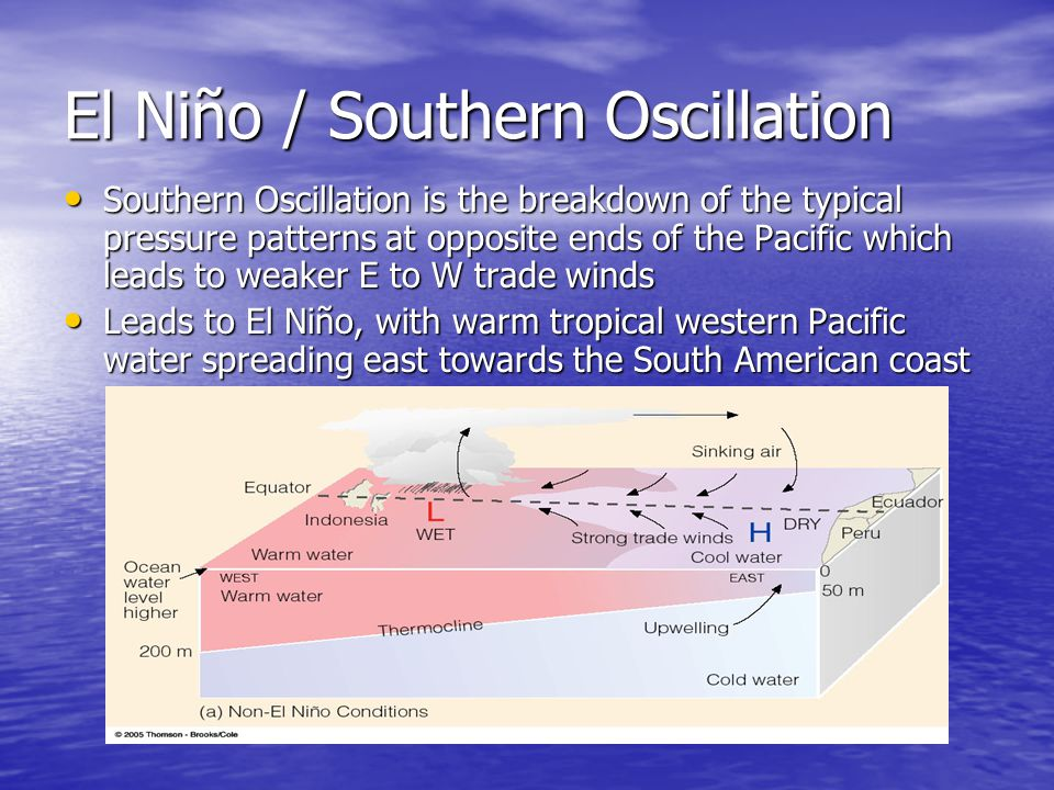 El Niño / Southern Oscillation Southern Oscillation is the breakdown of the typical pressure patterns at opposite ends of the Pacific which leads to w