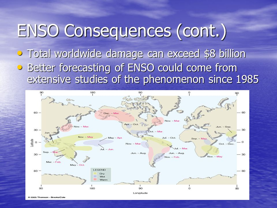 ENSO Consequences (cont.) Total worldwide damage can exceed $8 billion Total worldwide damage can exceed $8 billion Better forecasting of ENSO could c