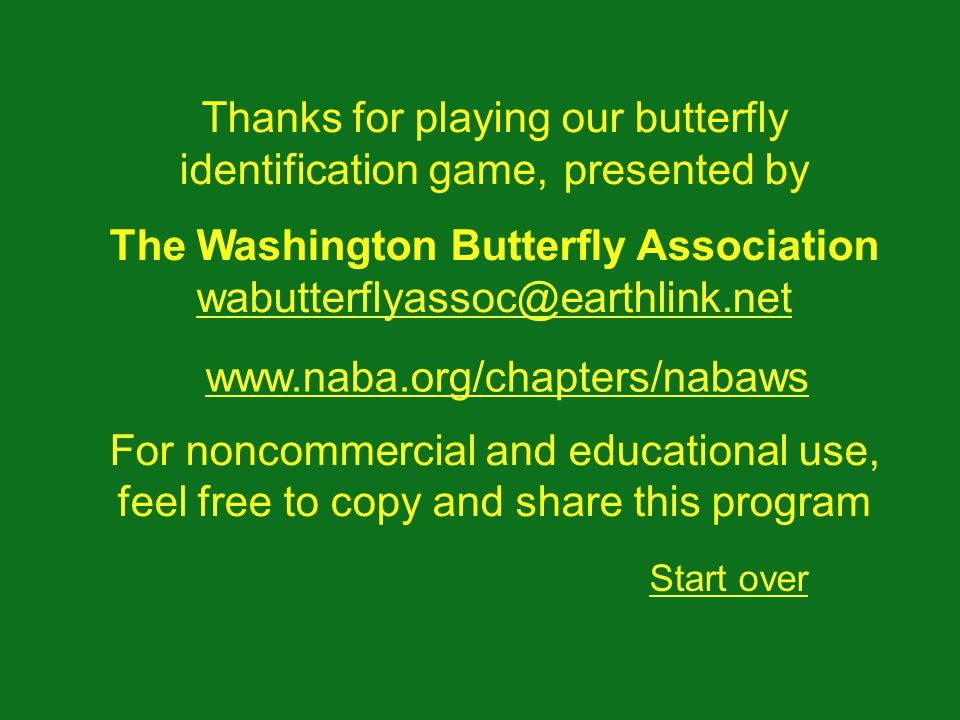 Thanks for playing our butterfly identification game, presented by The Washington Butterfly Association wabutterflyassoc@earthlink.net wabutterflyassoc@earthlink.net For noncommercial and educational use, feel free to copy and share this program Start over www.naba.org/chapters/nabaws