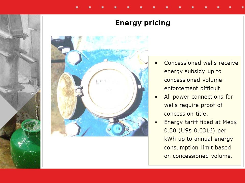 Energy pricing Concessioned wells receive energy subsidy up to concessioned volume - enforcement difficult.