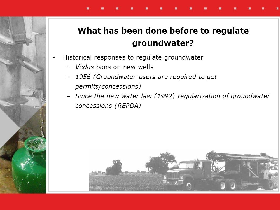 Farmer applies for subsidies for improving his irrigation technology (requirements) - Legal groundwater use permit - Contribution of the farmer (10%-50% of total costs) - With the new project flow meters are installed on pumps How does it work