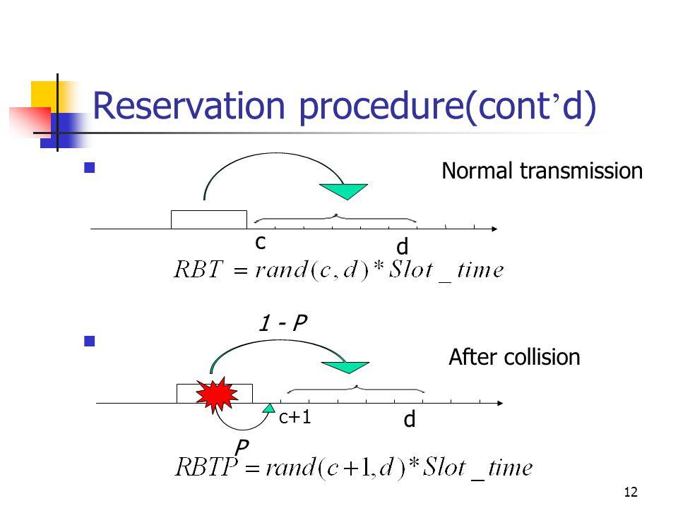12 Reservation procedure(cont d) Normal transmission c d P 1 - P After collision c+1 d