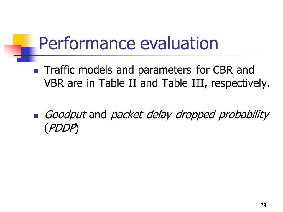 23 Performance evaluation Traffic models and parameters for CBR and VBR are in Table II and Table III, respectively.