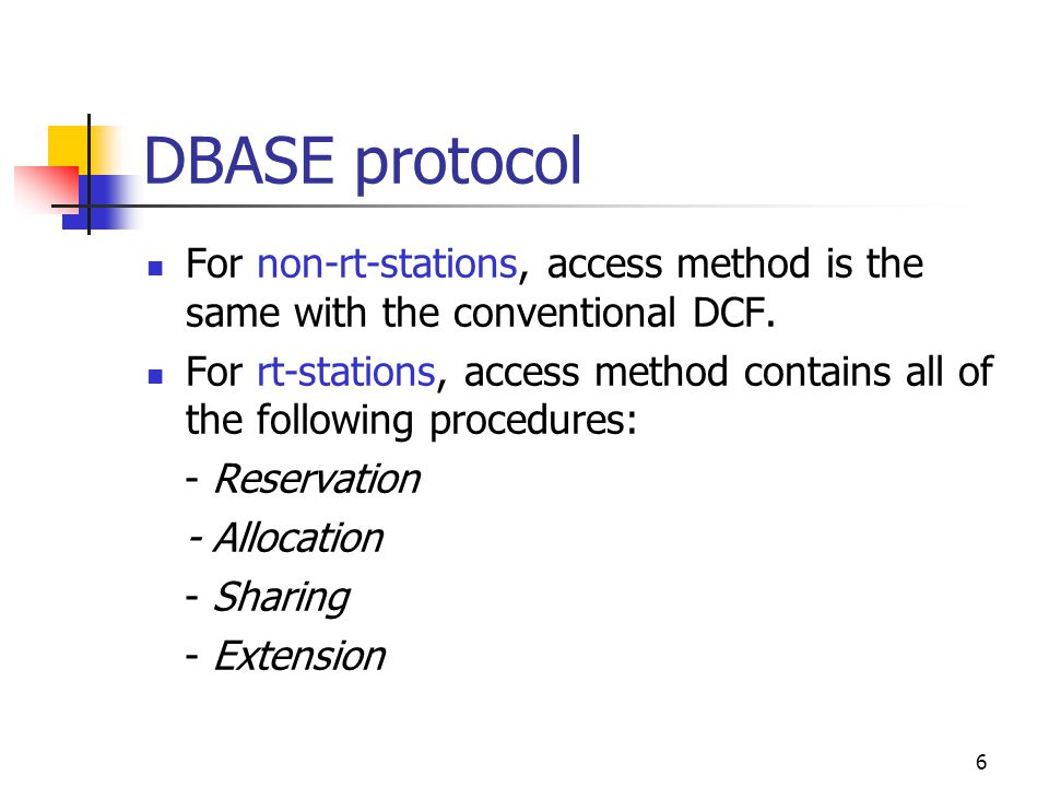 6 DBASE protocol For non-rt-stations, access method is the same with the conventional DCF.