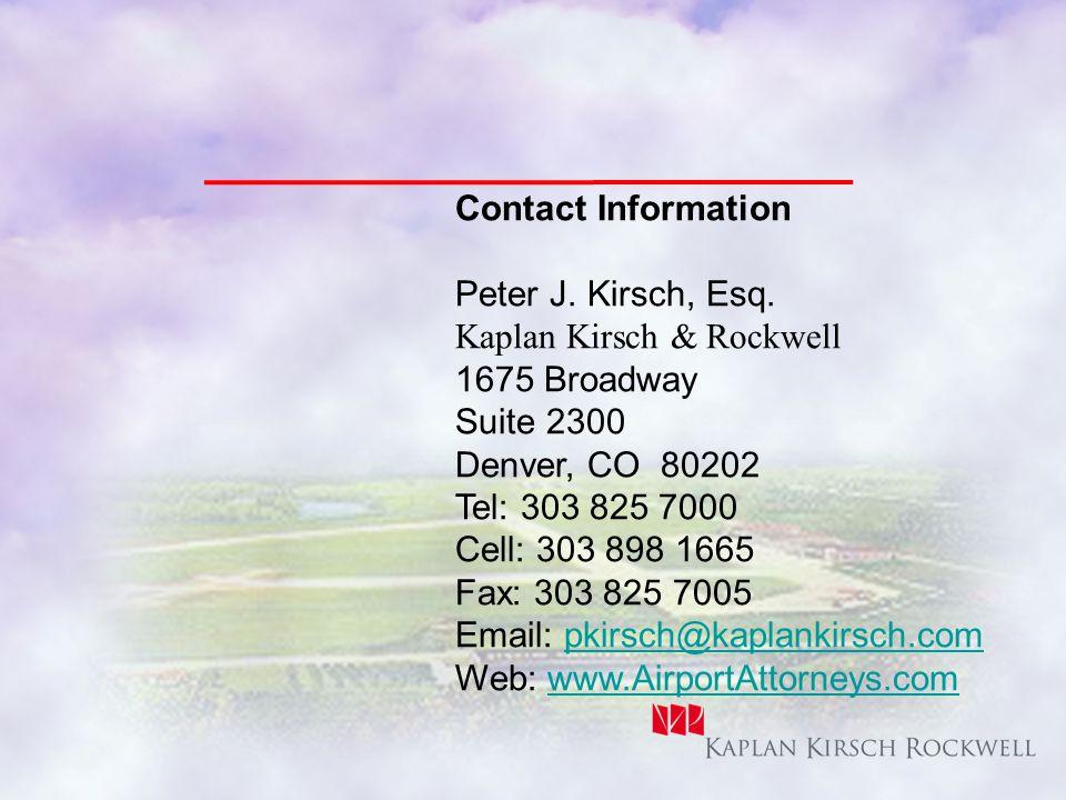 Contact Information Peter J. Kirsch, Esq.