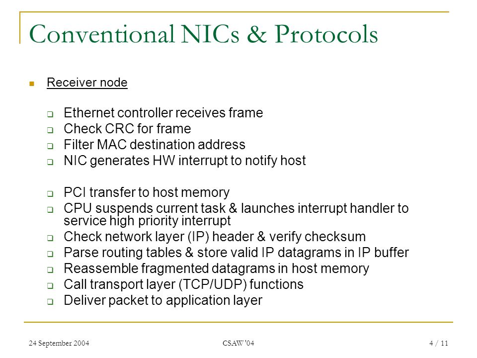 24 September 2004 CSAW 04 5 / 11 Problems With Conventional Protocols & Architectures NIC generates a CPU interrupt for each frame Servicing interrupts involves expensive vertical switch to kernel space.