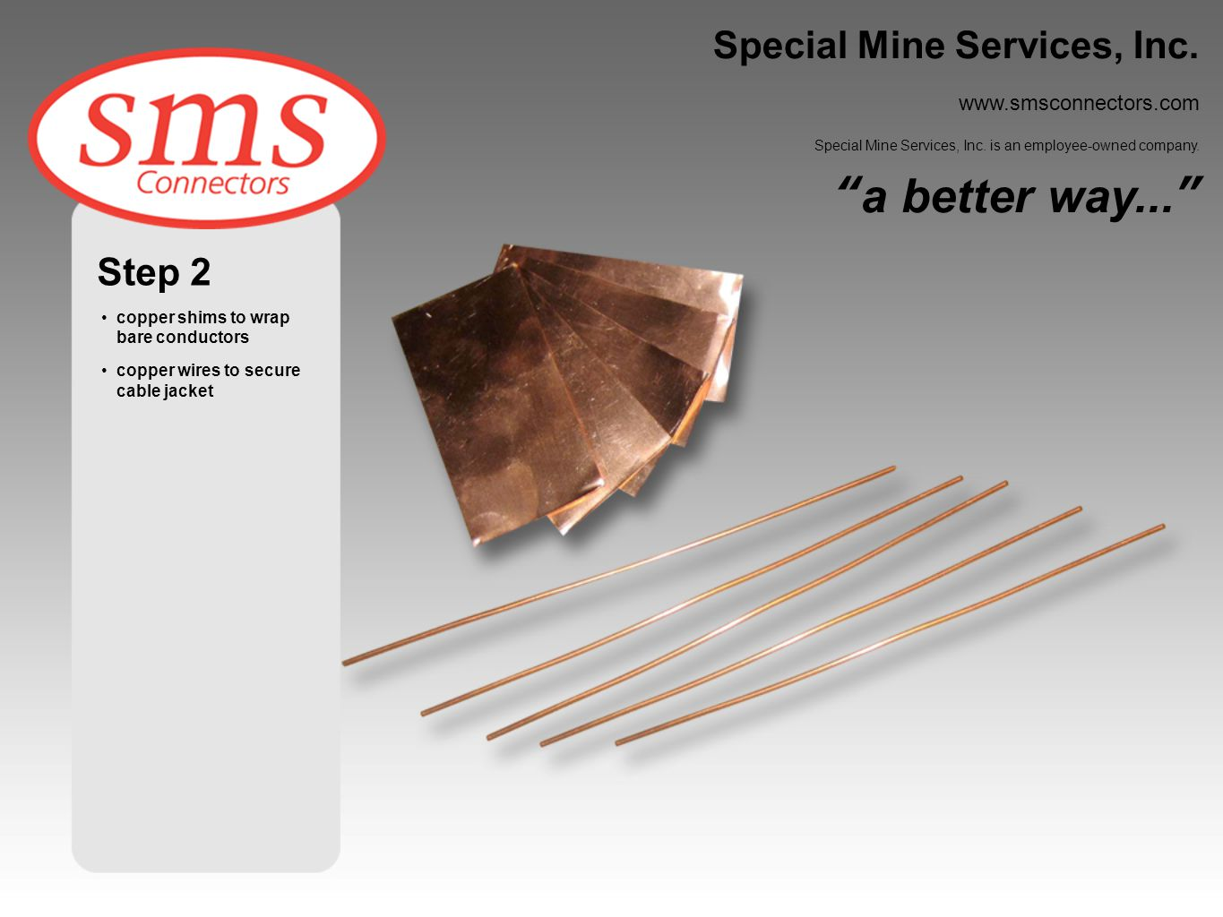 Step 3 install copper wire on cable jacket wrap bare conductor with copper shim Special Mine Services, Inc.