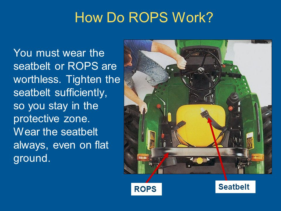 How Do ROPS Work. You must wear the seatbelt or ROPS are worthless.