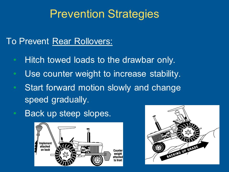 To Prevent Rear Rollovers: Hitch towed loads to the drawbar only. Use counter weight to increase stability. Start forward motion slowly and change spe