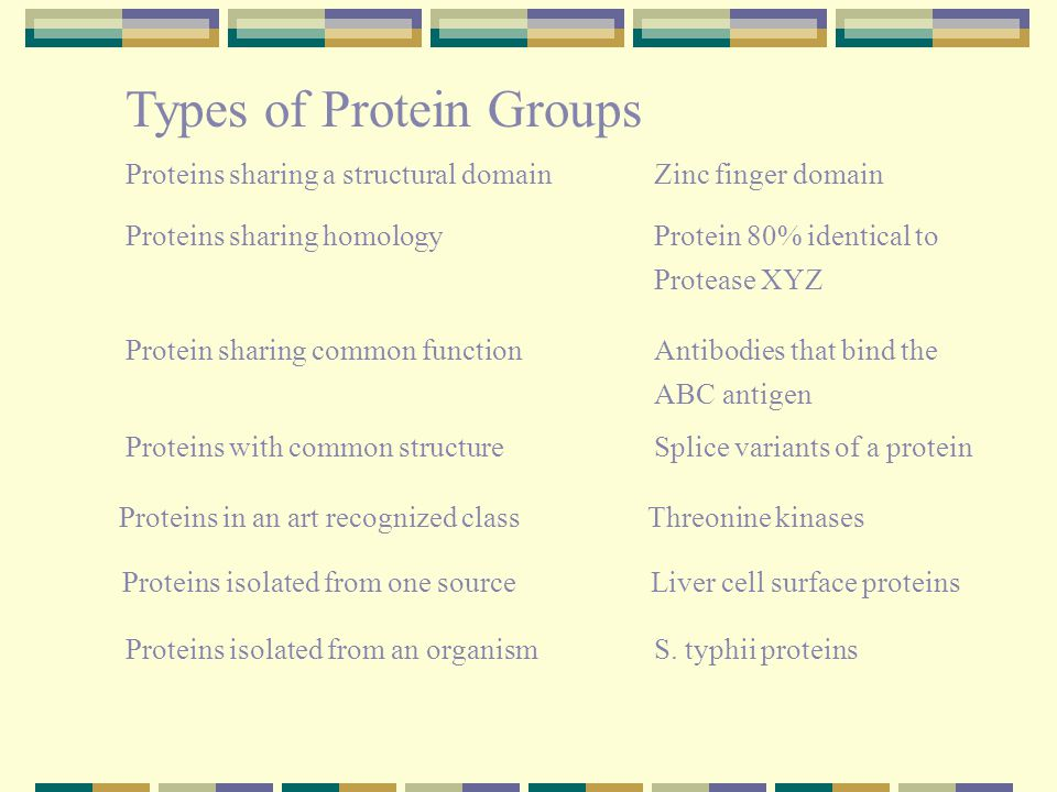 Types of Protein Groups Proteins sharing a structural domainZinc finger domain Proteins sharing homologyProtein 80% identical to Protease XYZ Proteins with common structureSplice variants of a protein Protein sharing common functionAntibodies that bind the ABC antigen Proteins in an art recognized classThreonine kinases Proteins isolated from one source Liver cell surface proteins Proteins isolated from an organismS.