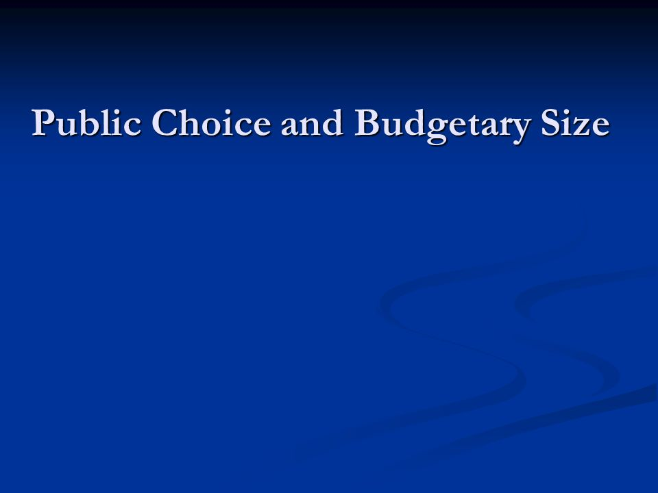 Public Choice and Budgetary Size