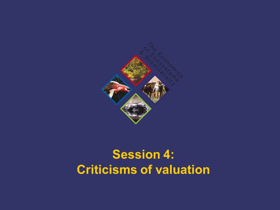 TEEB Training Session 4: Criticisms of valuation