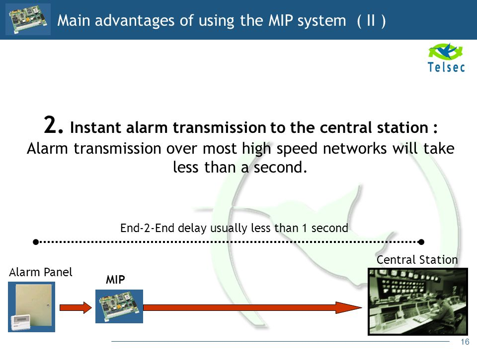 16 2. Instant alarm transmission to the central station : Alarm transmission over most high speed networks will take less than a second. Central Stati