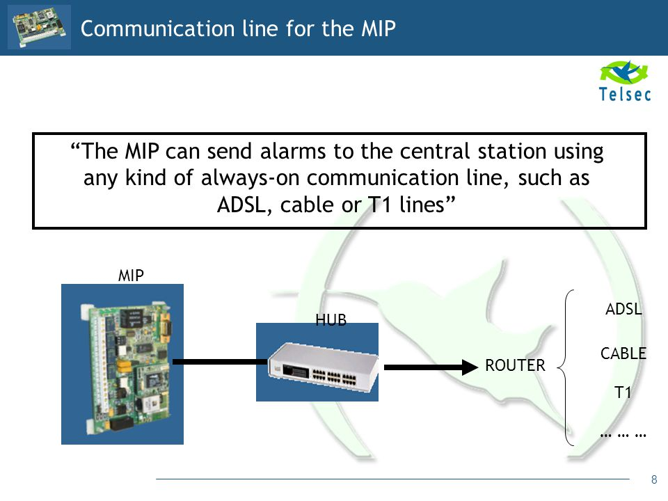 8 The MIP can send alarms to the central station using any kind of always-on communication line, such as ADSL, cable or T1 lines HUB MIP ROUTER ADSL C