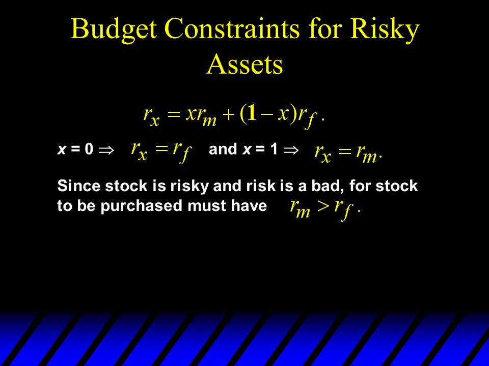 Budget Constraints for Risky Assets x = 0 and x = 1 Since stock is risky and risk is a bad, for stock to be purchased must have