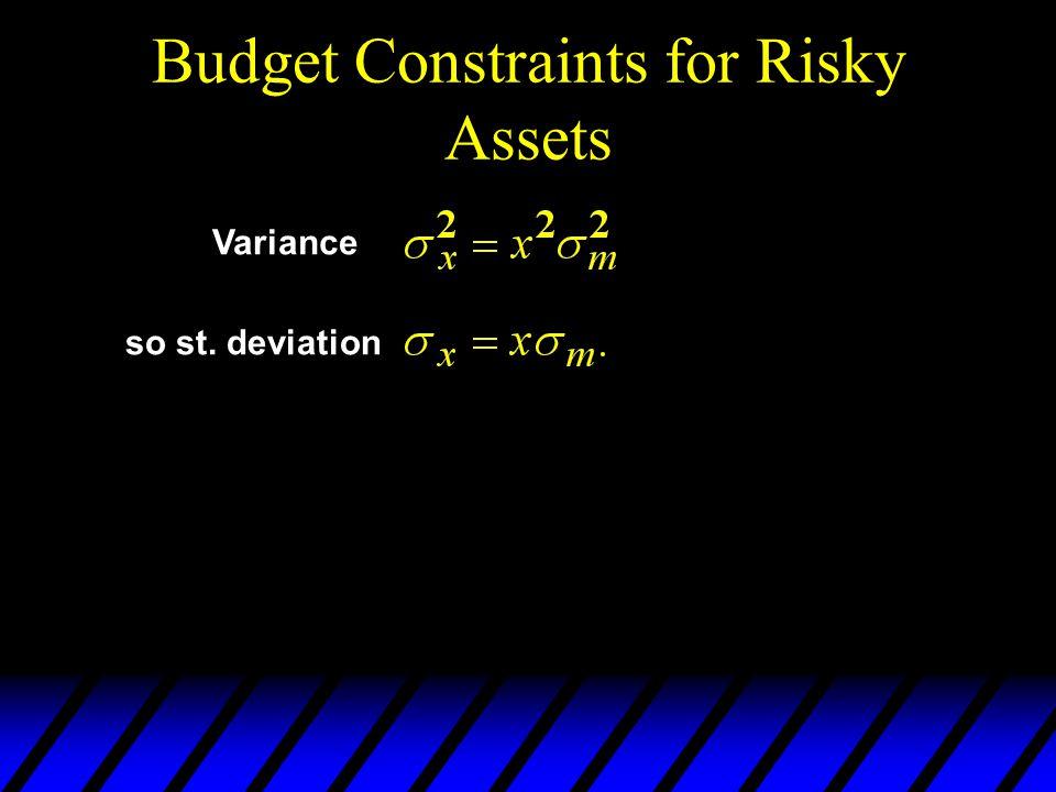 Budget Constraints for Risky Assets Variance so st. deviation