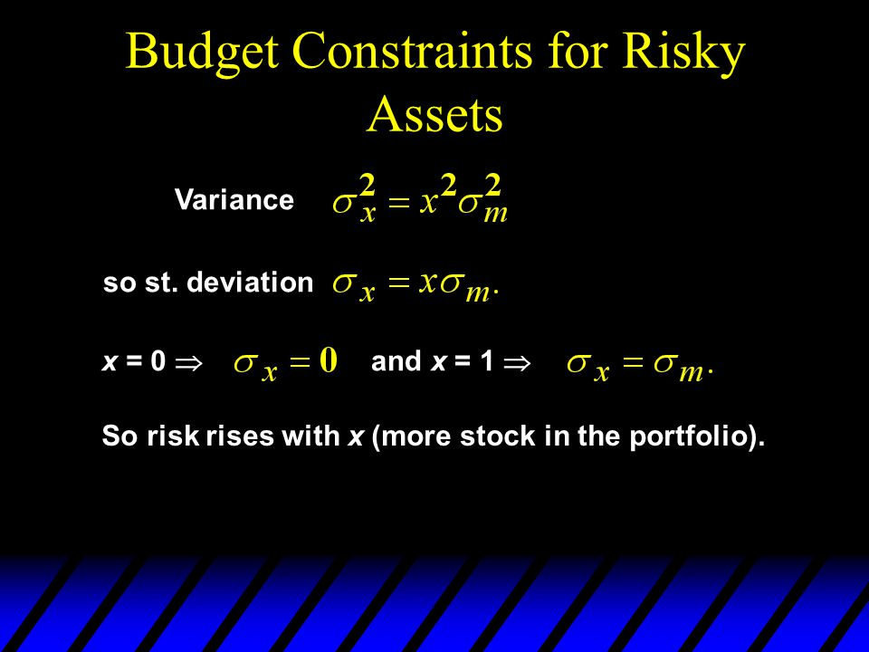 Budget Constraints for Risky Assets x = 0 and x = 1 Variance so st. deviation So risk rises with x (more stock in the portfolio).