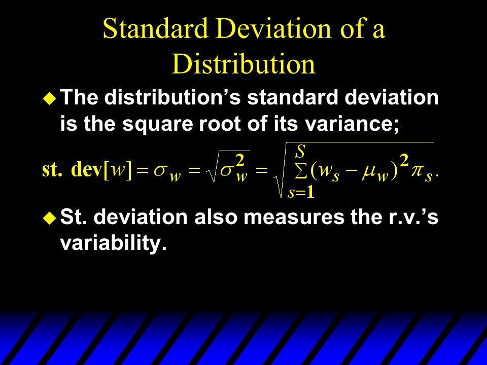 Standard Deviation of a Distribution u The distributions standard deviation is the square root of its variance; u St. deviation also measures the r.v.