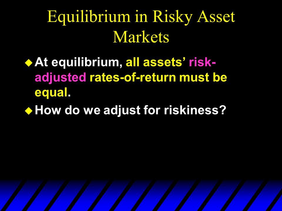Equilibrium in Risky Asset Markets u At equilibrium, all assets risk- adjusted rates-of-return must be equal. u How do we adjust for riskiness?