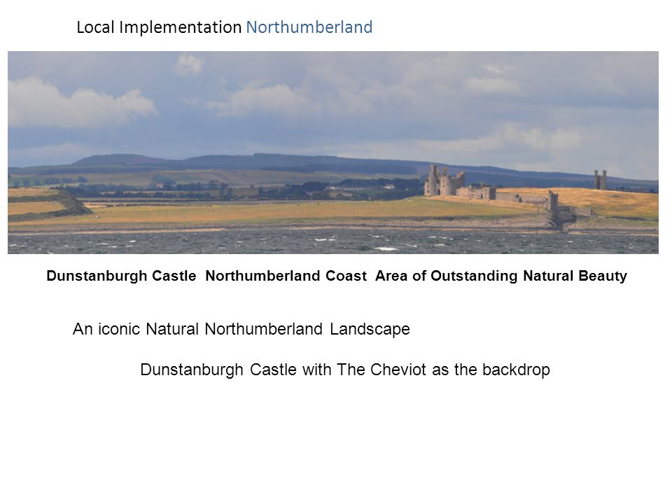 Dunstanburgh Castle Northumberland Coast Area of Outstanding Natural Beauty Local Implementation Northumberland An iconic Natural Northumberland Landscape Dunstanburgh Castle with The Cheviot as the backdrop