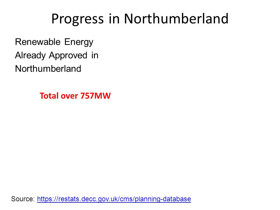 Progress in Northumberland Source: https://restats.decc.gov.uk/cms/planning-databasehttps://restats.decc.gov.uk/cms/planning-database Renewable Energy Already Approved in Northumberland Total over 757MW
