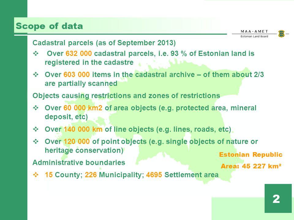 Scope of data 2 Cadastral parcels (as of September 2013) Over 632 000 cadastral parcels, i.e.