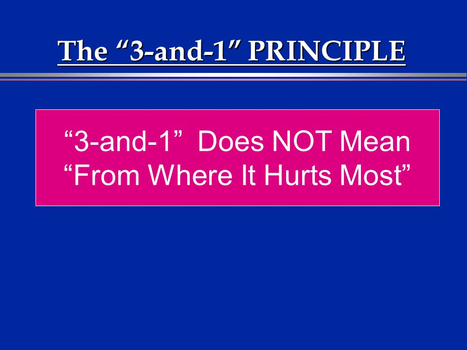 The 3-and-1 PRINCIPLE 3-and-1 Does NOT Mean From Where It Hurts Most