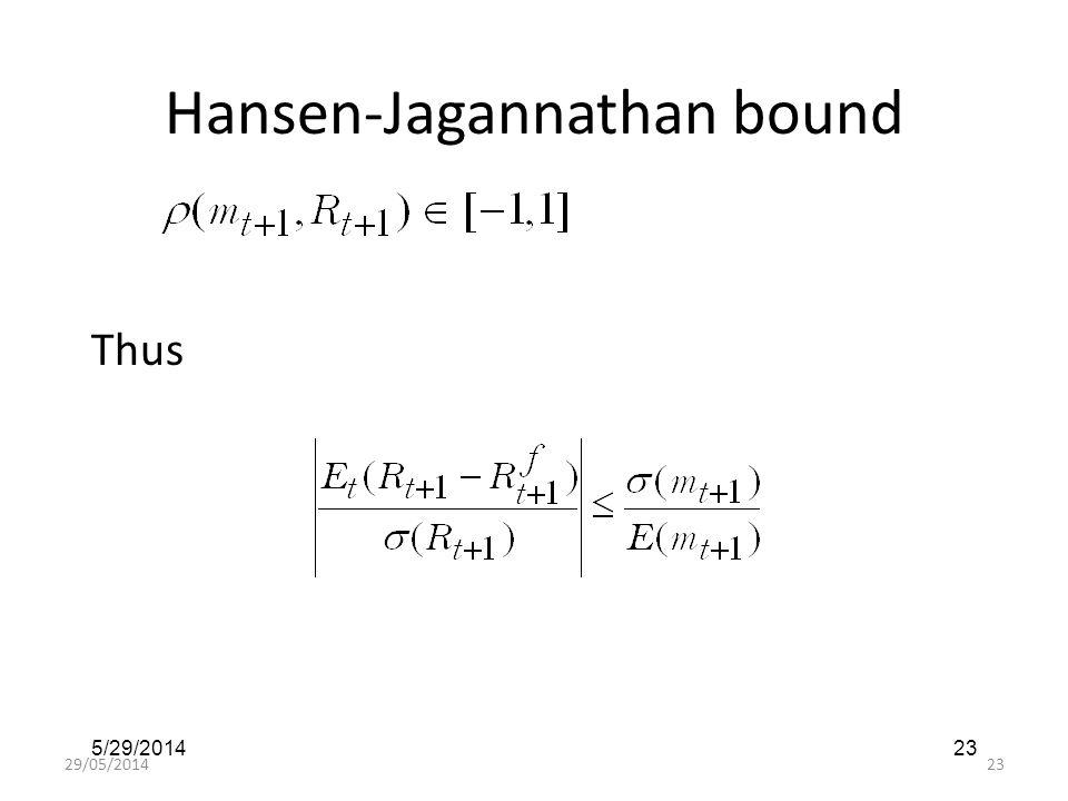 29/05/201423 5/29/201423 Hansen-Jagannathan bound Thus
