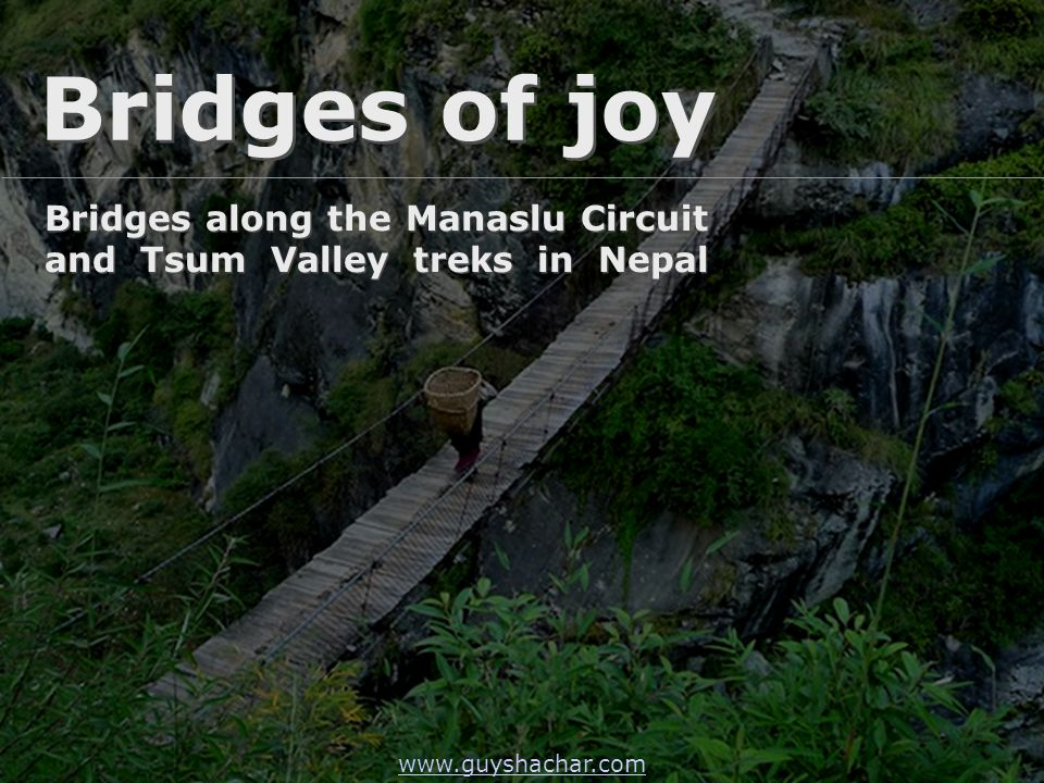 A local resident carries a Doko – the famous Nepali basket over the lovely wooden deck of a suspension bridge north of Bihi