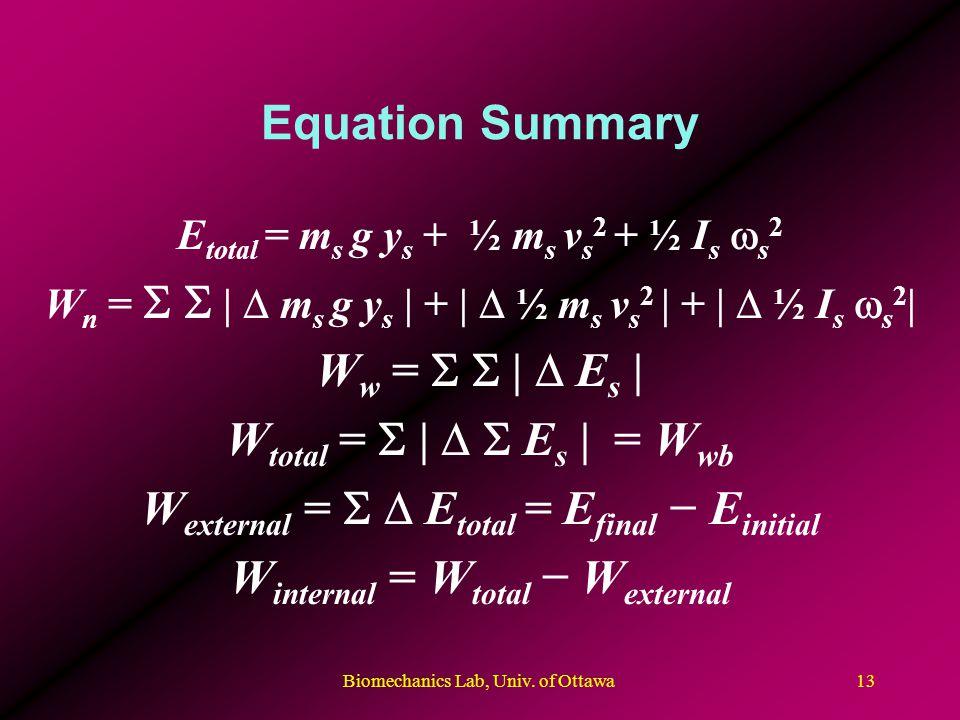 Biomechanics Lab, Univ. of Ottawa13 Equation Summary E total = m s g y s + ½ m s v s 2 + ½ I s s 2 W n = | m s g y s | + | ½ m s v s 2 | + | ½ I s s 2