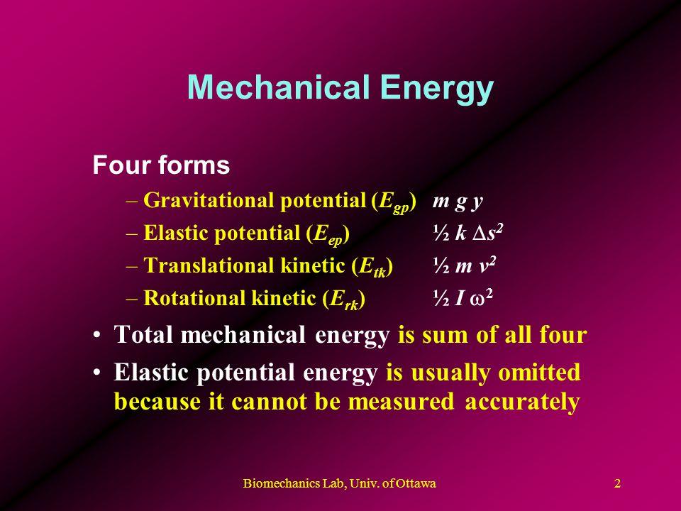 Biomechanics Lab, Univ. of Ottawa2 Mechanical Energy Four forms –Gravitational potential (E gp )m g y –Elastic potential (E ep )½ k s 2 –Translational